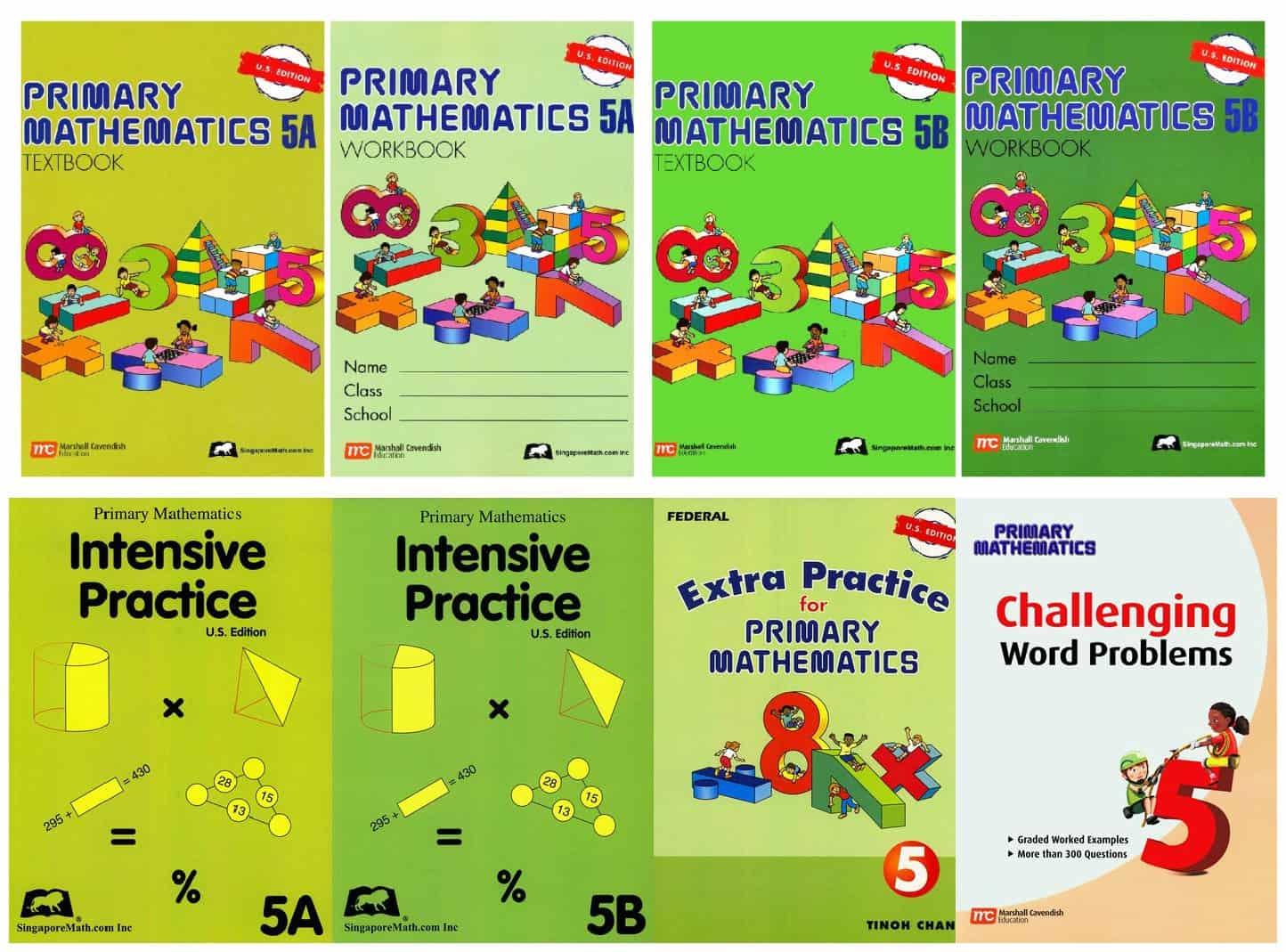 Singapore Math Primary Mathematics Complete Grade 4 Set of 8 books